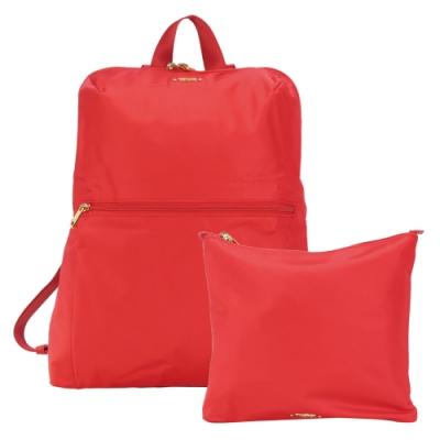 TUMI  VOYAGEUR 尼龍簡約前口袋折疊後背包-夕陽紅
