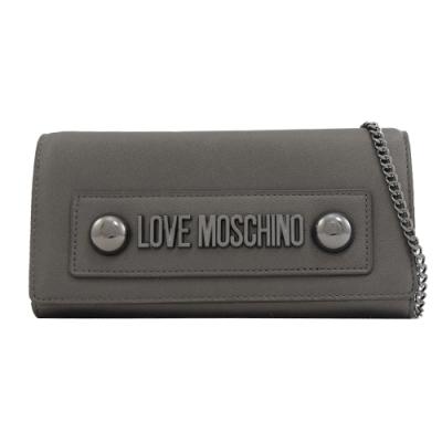 MOSCHINO LOVE系列大金屬LOGO可斜背式長夾(銀灰)