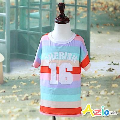 Azio Kids 上衣 數字16彩色寬橫條紋短袖長版T恤(彩條)
