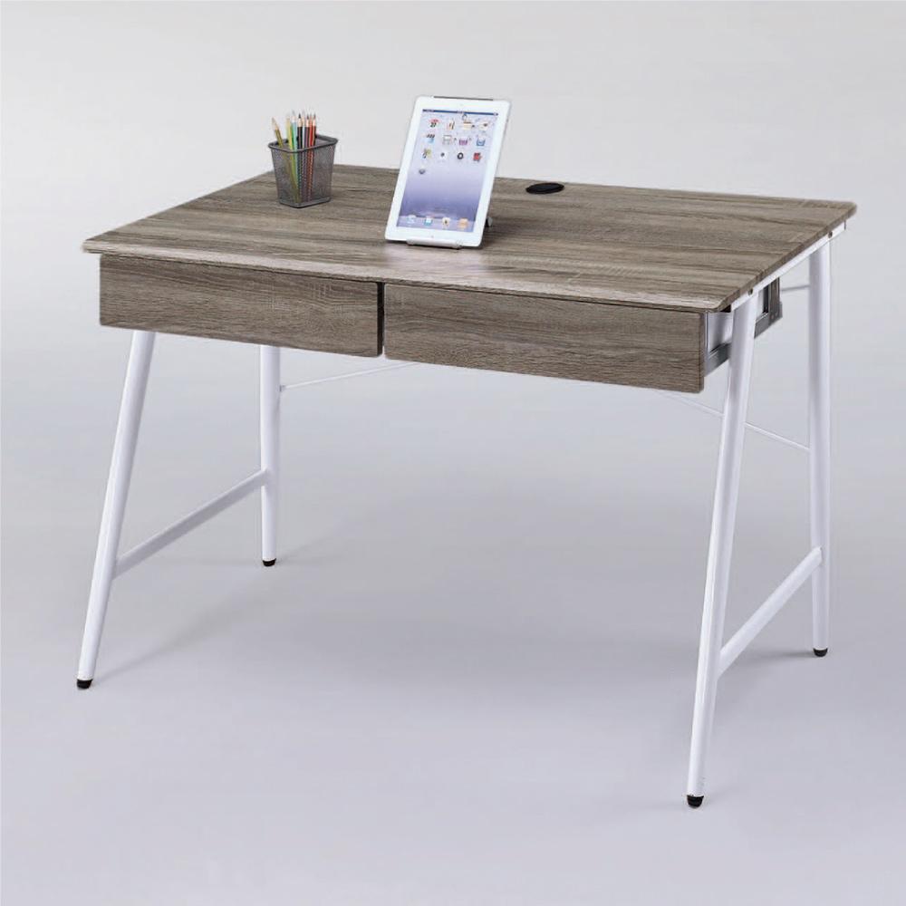 綠活居 皮卡時尚4尺二抽書桌/電腦桌(二色可選)-120x60x75cm免組