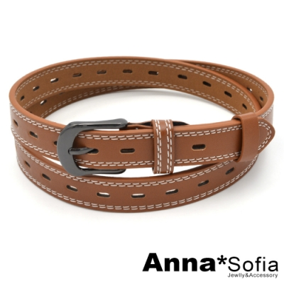AnnaSofia 黑釦車線長橢洞 中性腰帶皮帶(咖駝)