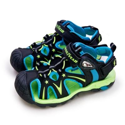 GOODYEAR 固特異 多功能運動磁扣護趾涼鞋 黑藍綠 88075