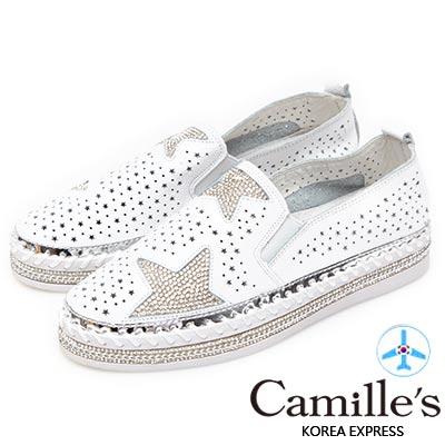 Camille's 韓國空運-正韓製-星星沖孔鑽石厚底懶人鞋-白色