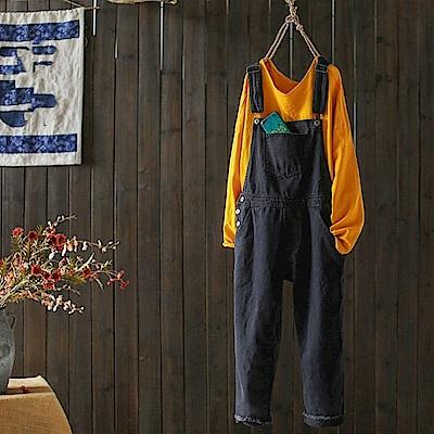 寬鬆牛仔背帶連身褲顯瘦九分褲/設計所在K1744