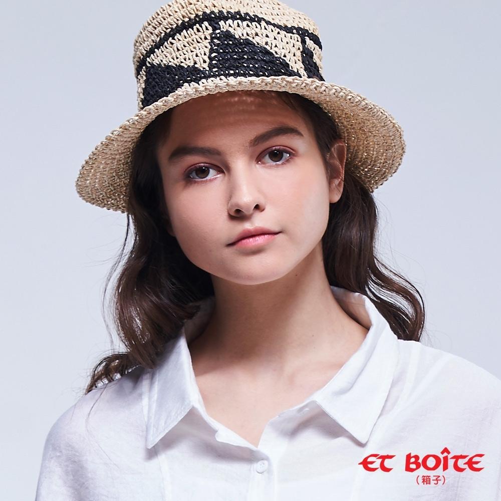 ET BOîTE 箱子 BLUE WAY –圖騰鬆織草帽