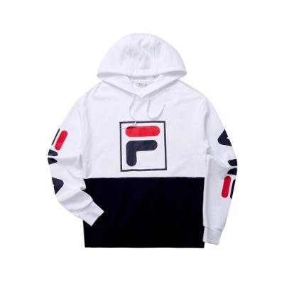 FILA 男長袖連帽T恤-白色 1TET-5447-WT