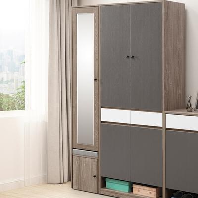 D&T 德泰傢俱 Buck胡桃色2.7X6.6尺高鞋櫃 寬80×深40×高201.5cm