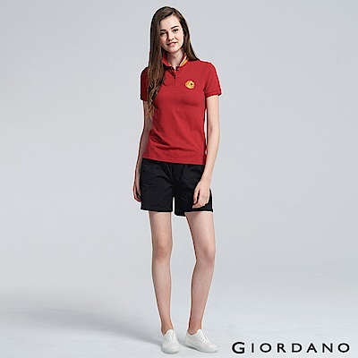 GIORDANO 女裝純棉素色抽繩卡其休閒短褲-09 標誌黑