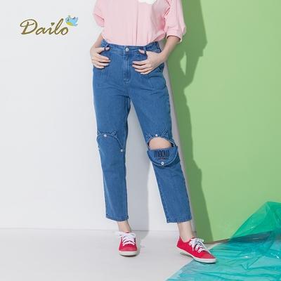 【Dailo】貓咪開口造型丹寧-女長褲(二色/版型適中)