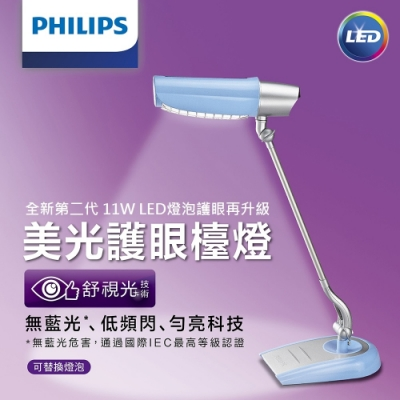 【PHILIPS飛利浦】第二代美光廣角護眼LED檯燈FDS980BU-淺藍色