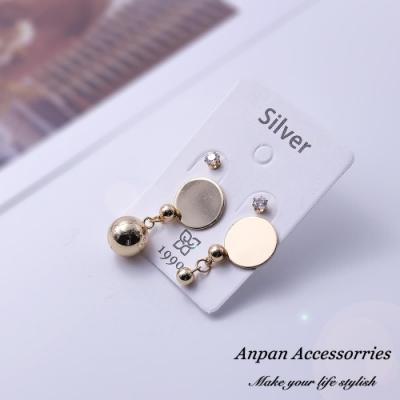 【Anpan 愛扮】韓東大門CHIC風幾何圓形耳釘式耳環套組-金