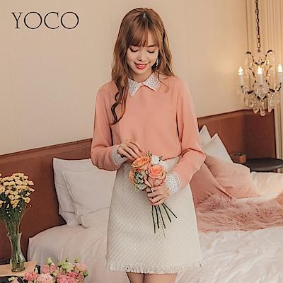 東京著衣-yoco 微甜女孩拼接領口袖口蕾絲雪紡上衣-S.M.L(共一色)