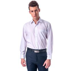 【金安德森】白底藍橘條紋相間長袖襯衫
