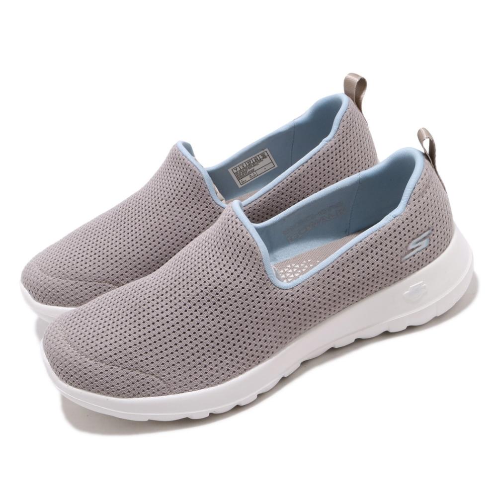 Skechers 休閒鞋 Go Walk Joy 套入式 女鞋 郊遊 健走 踏青 好穿脫 懶人鞋 透氣 灰 藍 124091TPBL