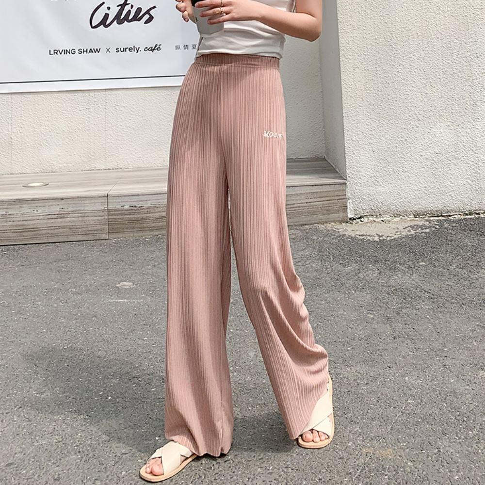 La Belleza英文字繡線鬆緊腰冰絲薄料闊腿褲休閒寬褲
