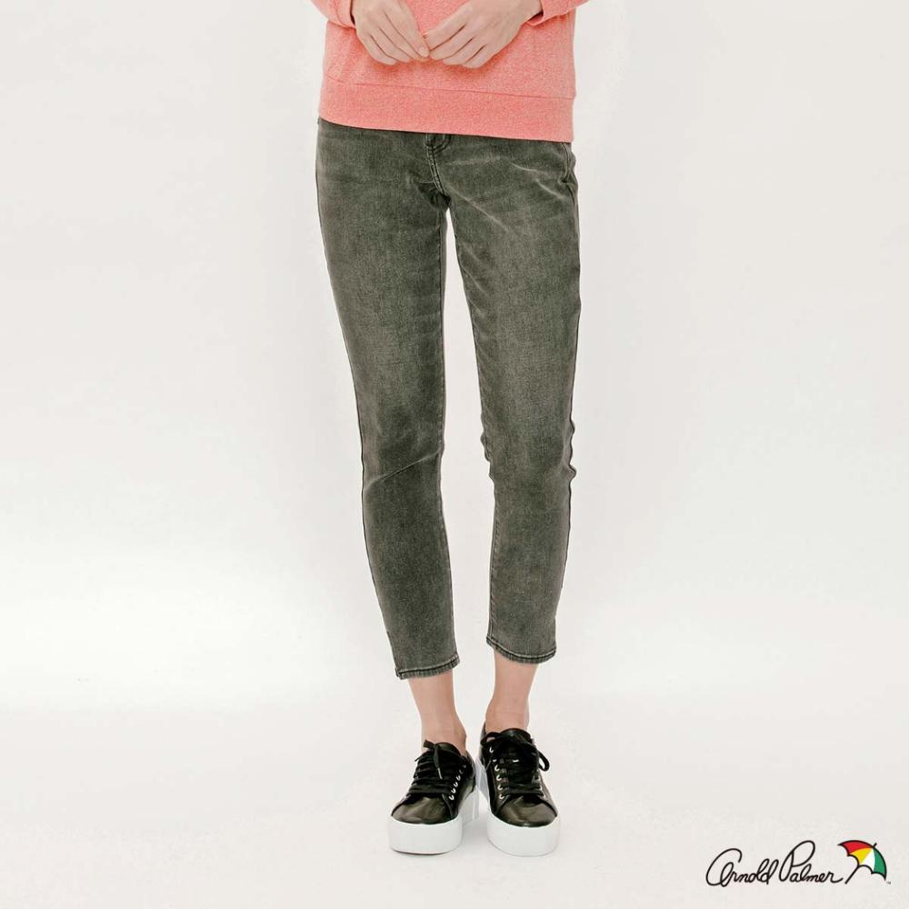 Arnold Palmer-女裝-褲腳開岔合身牛仔褲-黑色