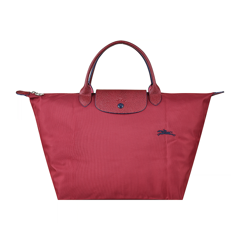 LONGCHAMP COLLECTION系列刺繡LOGO尼摺疊短把手提包(中/石榴紅x藍)