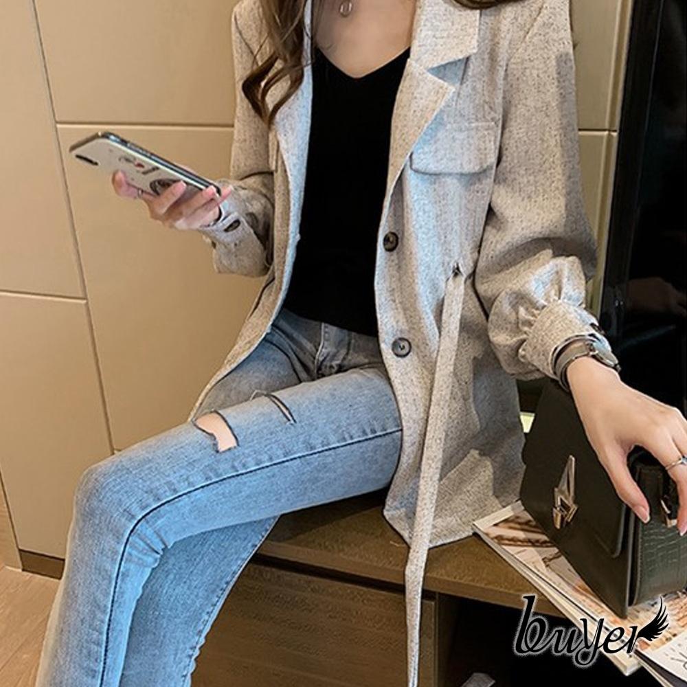 【白鵝buyer】率性 混色縮腰綁帶外套(灰白)