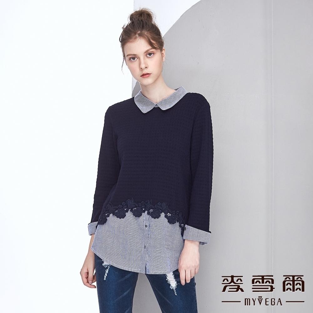 時時樂【麥雪爾】棉質蕾絲造型 /羊毛針織假兩件上衣-兩款任選