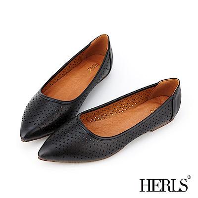 HERLS 氣質甜美 內真皮花窗沖孔尖頭平底鞋-黑色