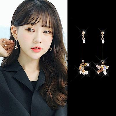 梨花HaNA 韓國925銀星和月的對話彩鑽耳環