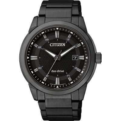 CITIZEN 星辰GENTS 都會簡單風格光動能腕錶-黑42mm(BM7145-51E)