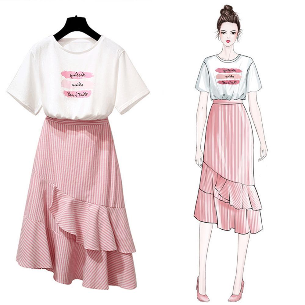 初色  百搭T恤復古條紋魚尾裙兩件式套裝-共2色-(M-XL可選)