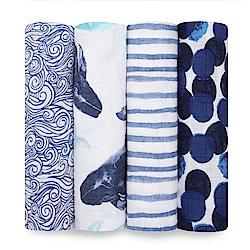 美國aden+anais輕柔新生兒包巾(4入)-深海藍AA2071