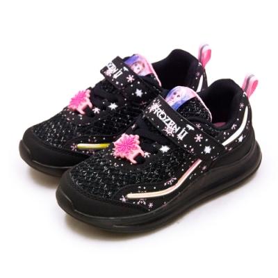 Disney 迪士尼 冰雪奇緣 FROZEN 兒童電燈慢跑鞋 黑粉紅 94920