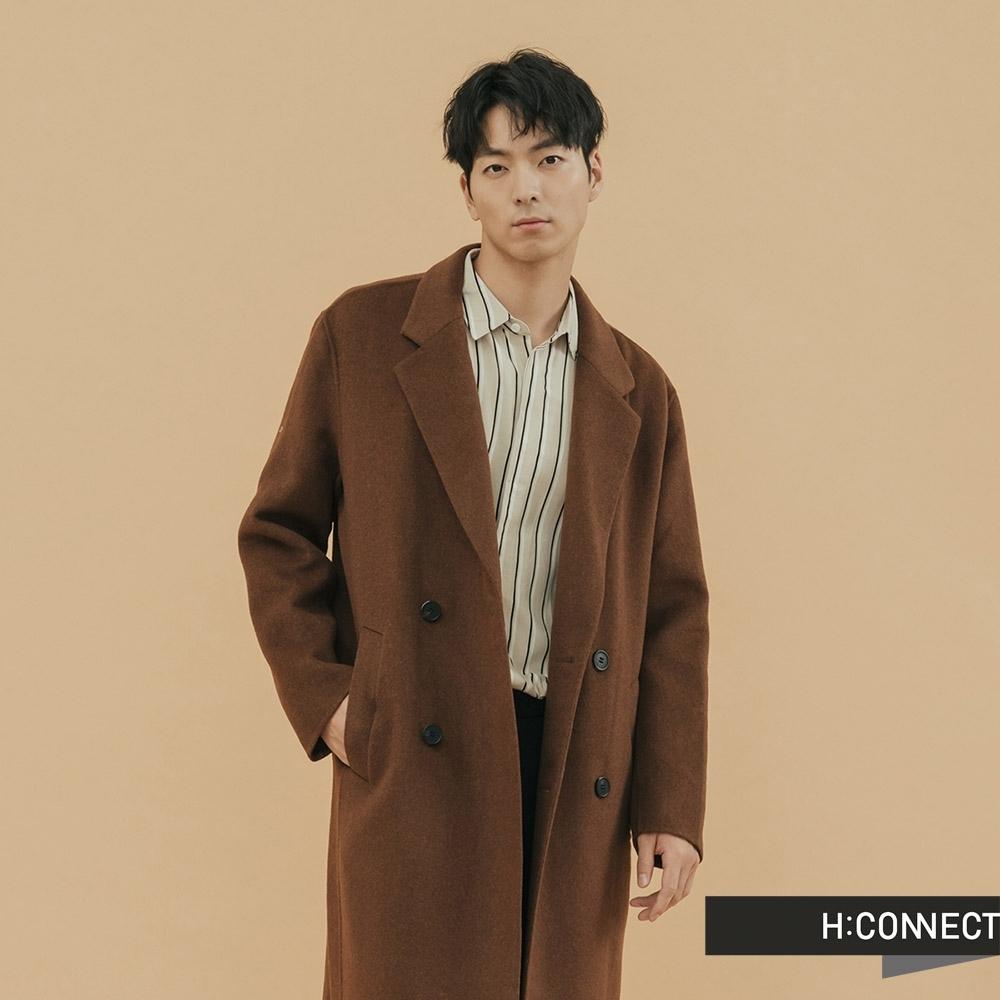 H:CONNECT 韓國品牌 男裝 - 俐落翻領羊毛大衣  - 棕