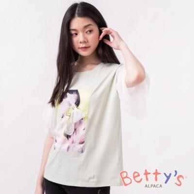 betty's貝蒂思 女孩印花透膚網紗袖上衣(淺綠)