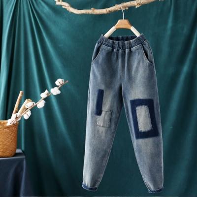 貼布鬆緊腰牛仔褲寬鬆顯瘦老爹褲哈倫九分褲-設計所在