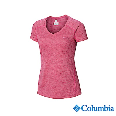 Columbia 哥倫比亞女款-UPF30快排涼感短袖上衣-桃紅 UAR69140