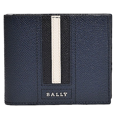 BALLY TARRISH 經典條紋logo夾式鈔票對折皮夾(深藍)