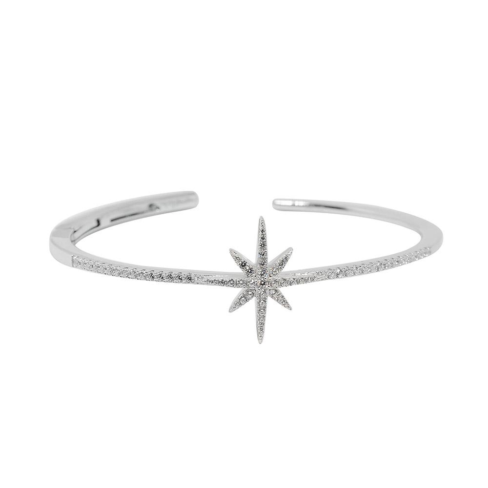 apm MONACO法國精品珠寶 閃耀銀色繁星鑲鋯C字開口手環手鐲