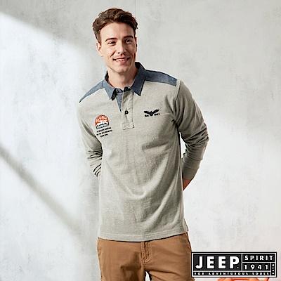 JEEP 衣領撞色拼接長袖POLO衫 -灰色