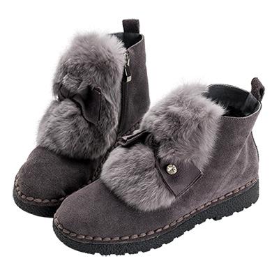 Robinlo 甜美蝴蝶結麂皮刷毛短靴 灰