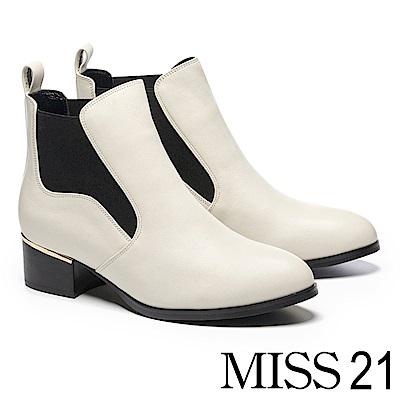 短靴 MISS 21 簡約時尚率性鬆緊帶拼接高跟短靴-白