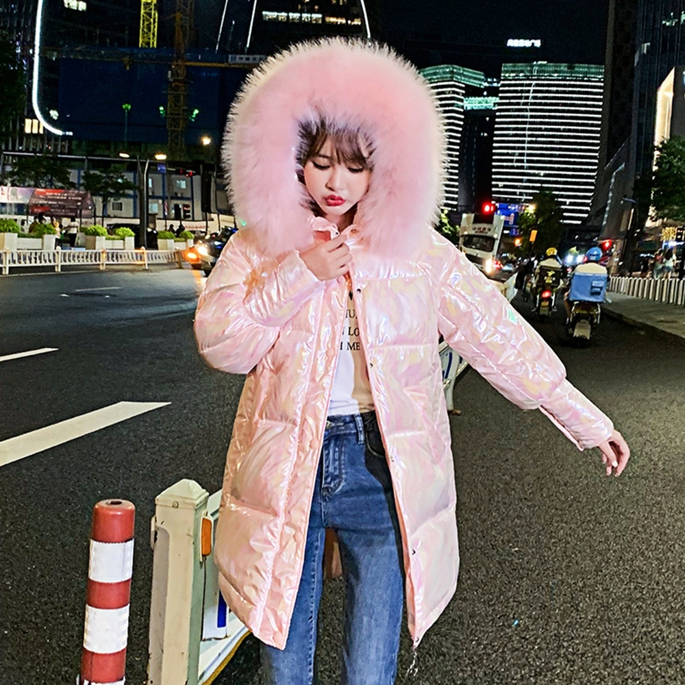 連帽毛領炫彩亮面中長款鋪棉外套XS-XL(共二色)-WHATDAY (粉色)