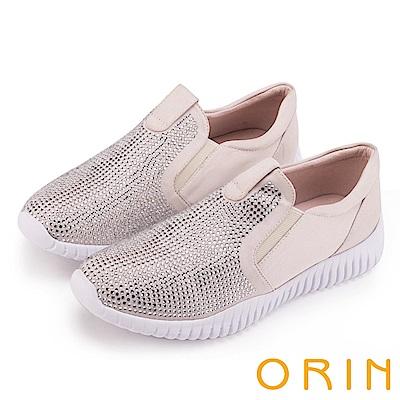 ORIN 休閒時尚風 閃閃燙鑽平底休閒鞋-米色