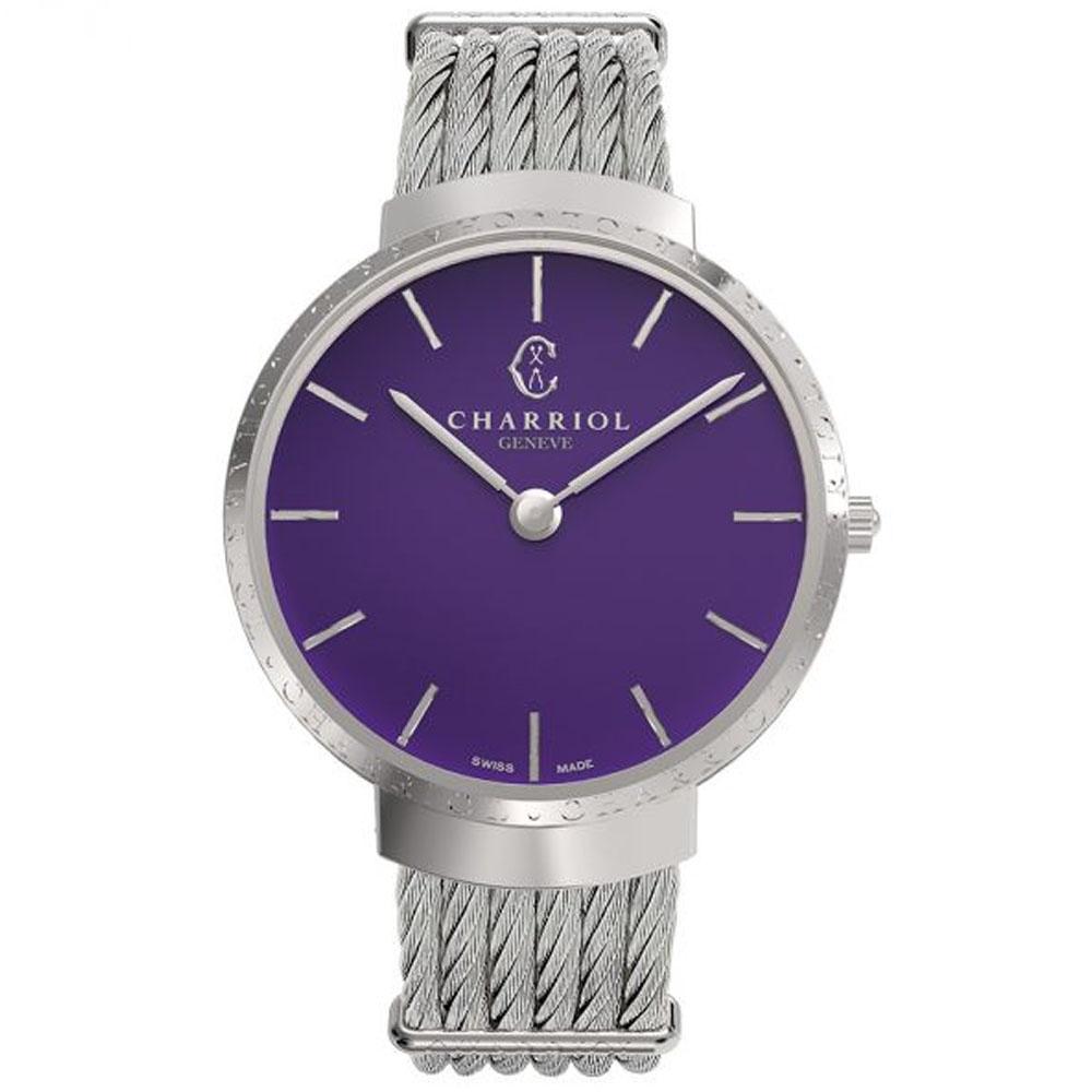 CHARRIOL 夏利豪 Slim系列 不鏽鋼經典紫鋼索腕錶/34mm