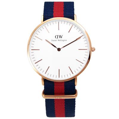 DW Daniel Wellington 雅痞風尼龍腕錶-白x玫瑰金框x藍紅/40mm