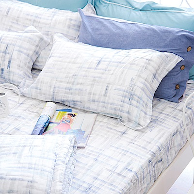 OLIVIA skittles 藍 標準雙人床包歐式枕套三件組 天絲™萊賽爾 台灣製