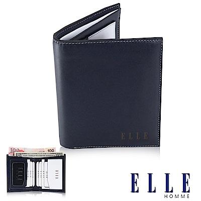 福利品 ELLE HOMME法式精品短皮夾幾何菱型白邊點綴元素設計嚴選頭層皮、置物名片格層設計-藍