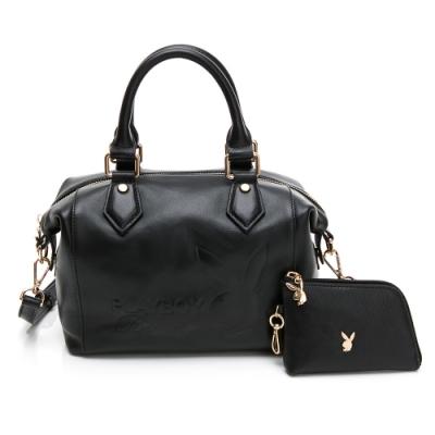 PLAYBOY-  手提包附長背帶(梯形包) 都會質感系列 -黑色