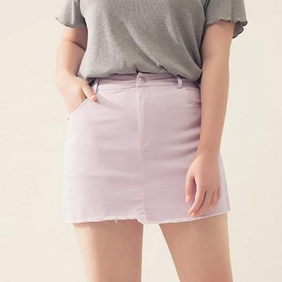 AIR SPACE PLUS 涼感顯瘦不對稱抽鬚褲裙(紫)