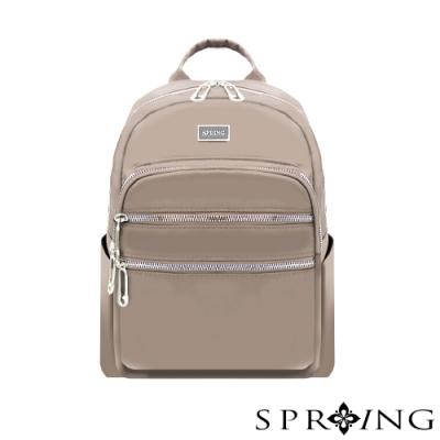 SPRING-未來系列尼龍多收納後背包-A4可-優雅灰棕