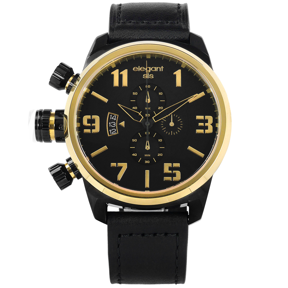 elegantsis 戰地狙擊鏡設計軍事風防水牛皮手錶-黑x金框/48mm