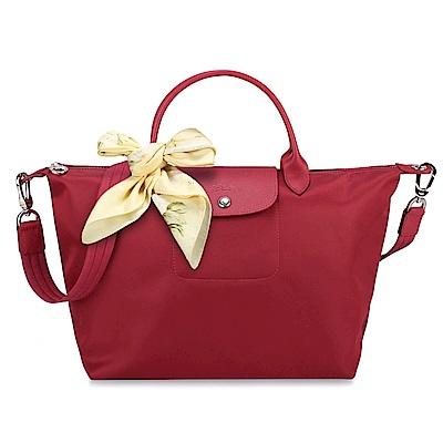 Longchamp Neo 短把手提/斜背厚尼龍兩用包-中/紅(送帕巾)
