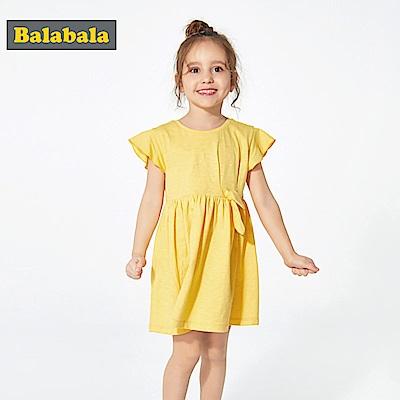 Balabala巴拉巴拉-甜美森林系荷葉邊袖洋裝裙-女(3色)